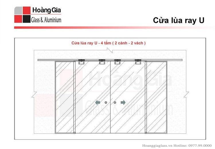 Mô hình cửa kính lùa ray 4 tấm (2 cánh 2 vách)