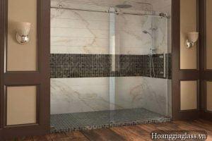 vách kính nhà tắm cửa lùa