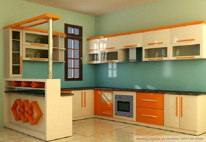 Kính màu ốp bếp xanh ngọc cường lực