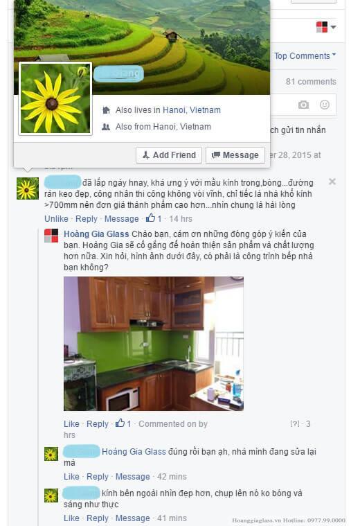 Khách lắp kính ốp bếp xanh non
