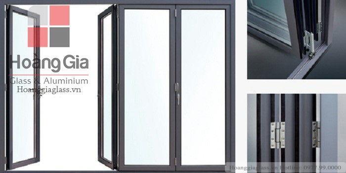 Cửa nhôm kính Việt Pháp cao cấp hệ cửa đi mở quay 02 cánh