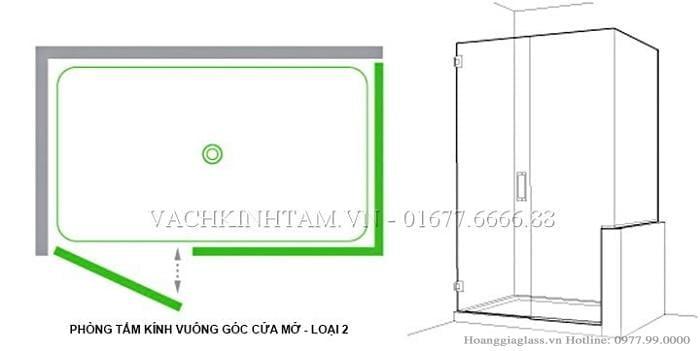 Mô hình phòng tắm kính cửa  mở vuông góc sử dụng bản lề kính- tường 90 độ