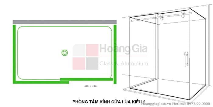 Mô hình phòng tắm kính cửa lùa (mẫu 2)
