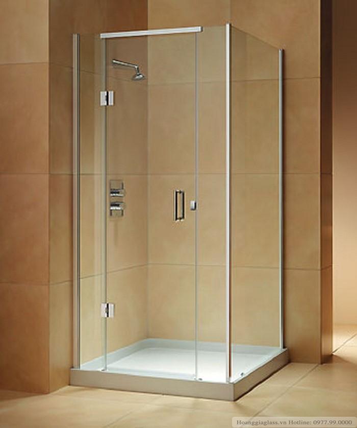 Phòng tắm kính cửa  mở vuông góc sử dụng bản lề kính- tường 180 độ (loại 3)