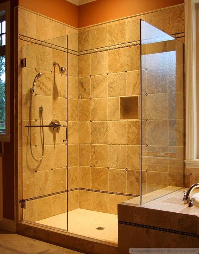 Phòng tắm kính cửa  mở vuông góc sử dụng bản lề kính- tường 90 độ (loại 2)