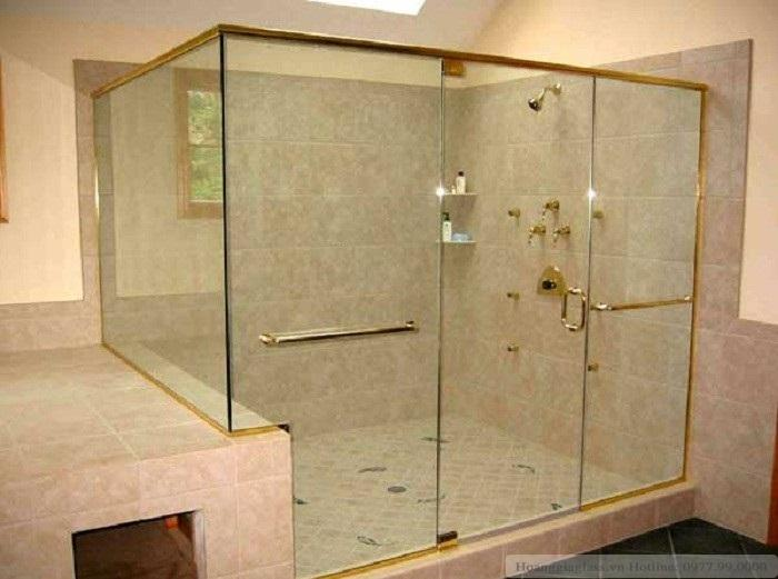 Phòng tắm kính cửa  mở vuông góc sử dụng bản lề kính- tường 180 độ (loại 4)