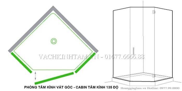 Mô hình phòng tắm kính vát góc (cabin tắm kính 135 độ)