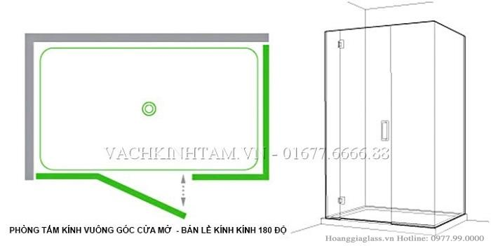 Mô hình phòng tắm kính cửa  mở vuông góc sử dụng bản lề kính- tường 180 độ