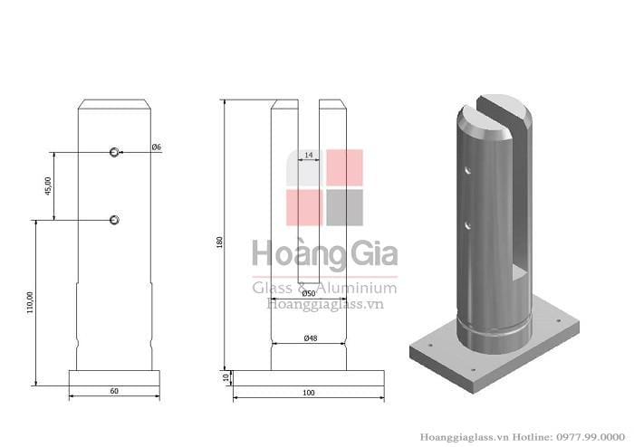 Trụ lùn sử dụng trong cầu thang kính