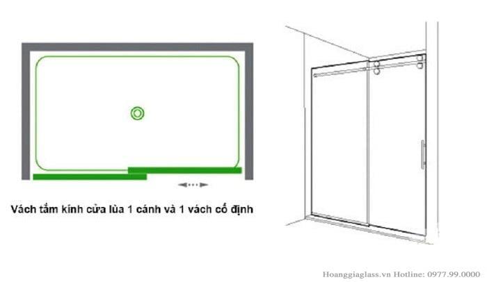 Vách tắm kính cửa lùa 2 tấm (1 cánh- 1 vách)