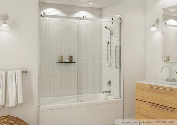 Mẫu vách tắm kính cửa lùa 2 tấm hệ ray 10 × 30