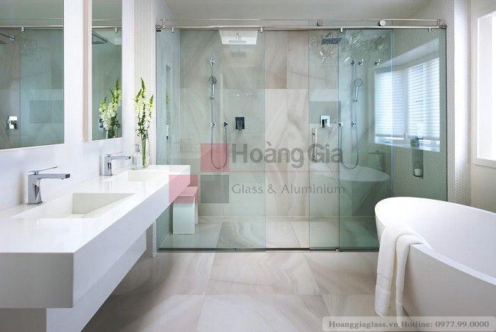 Mẫu vách tắm kính 3 tấm(1 cửa- 2 vách kính 2 bên)