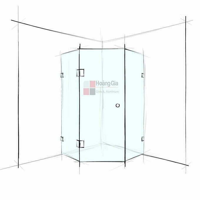 Cabin tắm kính 135 độ cửa mở