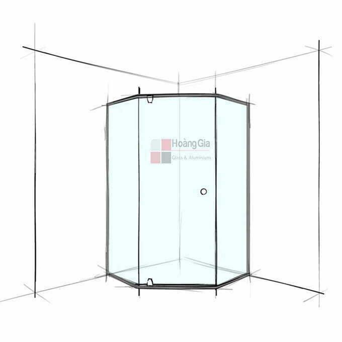 Cabin tắm kính 135 độ cửa mở có khung