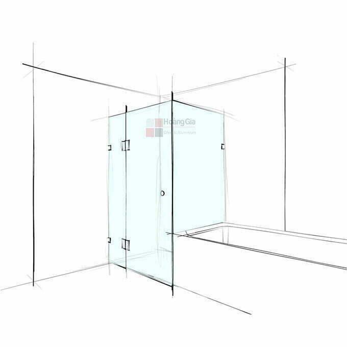 Phòng tắm kính 90 độ mở quay