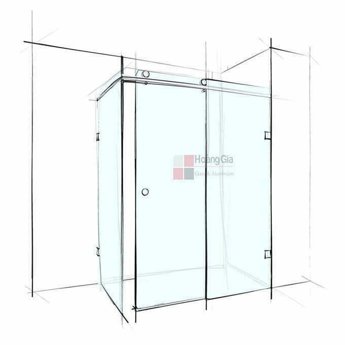 Phòng tắm kính cửa lùa vuông góc