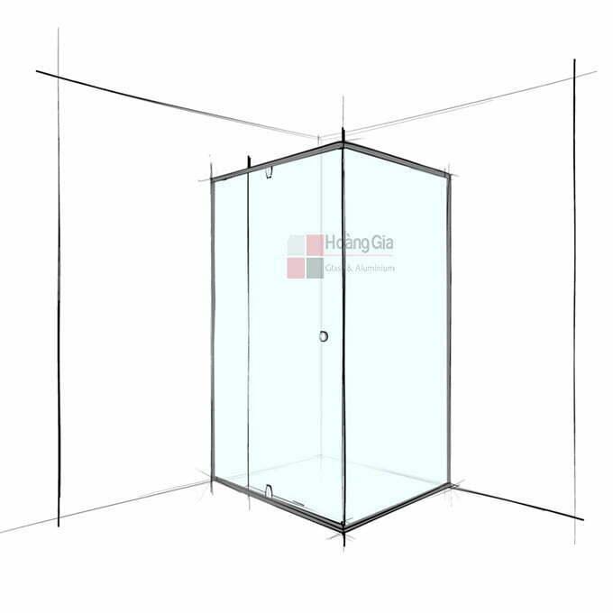 Phòng tắm kính vuông góc cửa mở