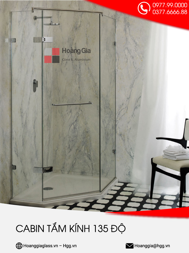 Cabin tắm kính 135 độ Hoàng gia glass