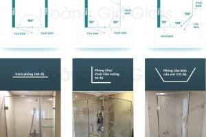 Kiểu dáng vách tắm kính phổ biến lắp đặt